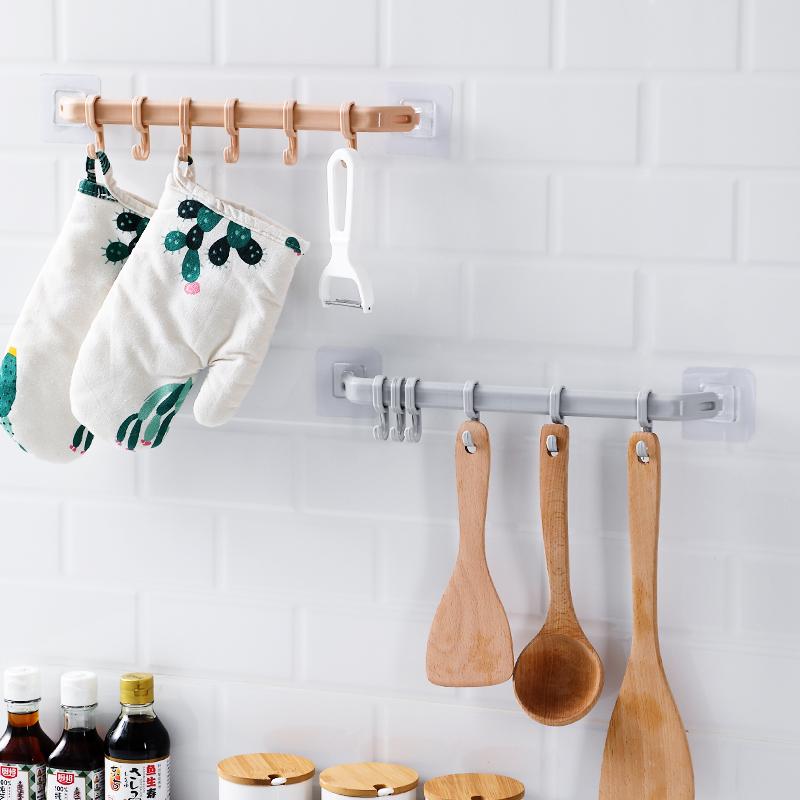 免打孔厨房挂钩挂衣钩家用塑料强力无痕创意门后挂架浴室粘胶排钩(非品牌)
