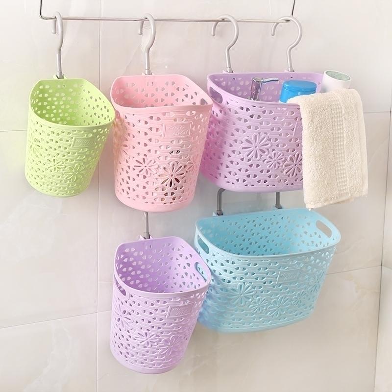 可挂式收纳筐塑料挂篮厨房收纳篮子洗澡筐卫生间浴室收纳篮置物篮