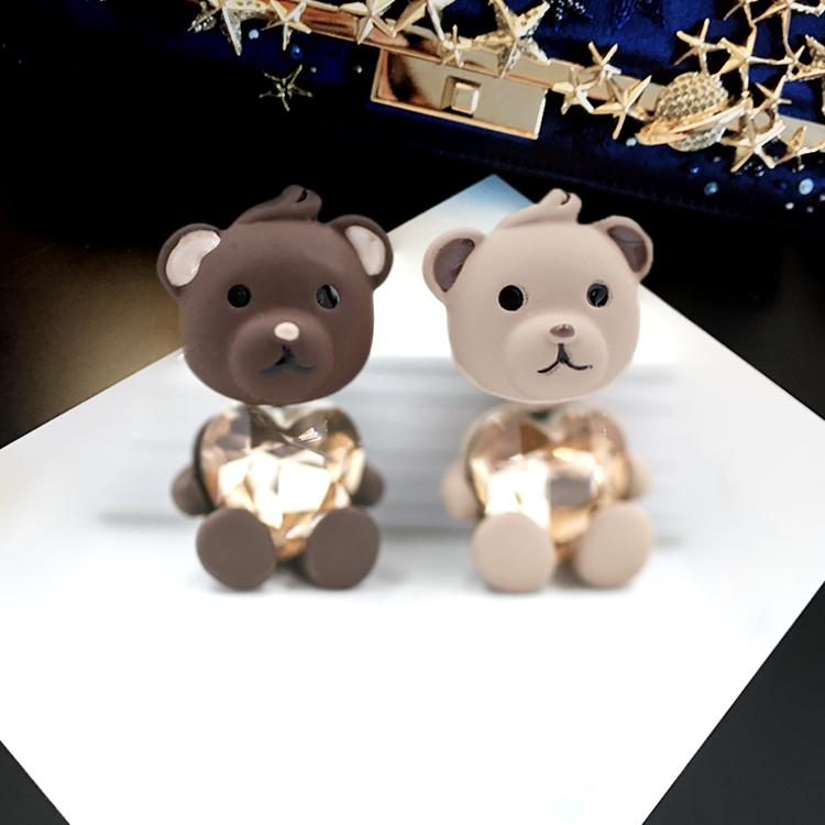 Korean Version cute bear pure silver earrings female temperament personality creative Earrings girl heart ear needle ear jewelry ear jewelry