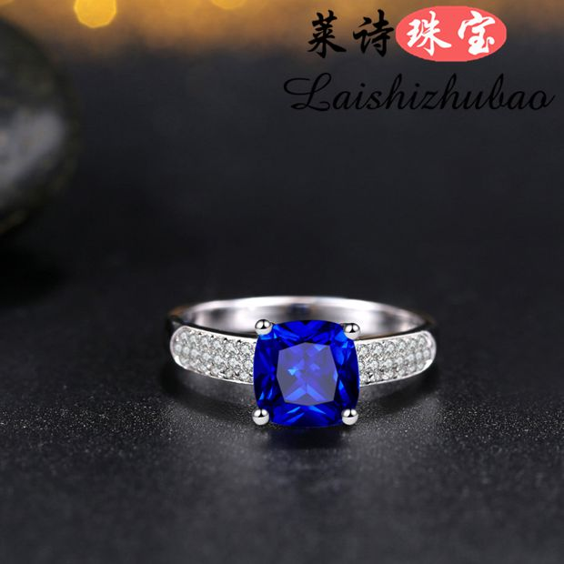 SAPPHIRE RING 925 silver plated 18K gold inlaid with colorful gems colorful precious gems Japanese and Korean Tanzanite