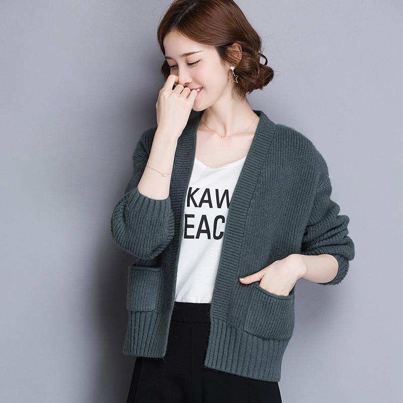 2020秋冬款长袖外披开衫女慵懒风毛衣外套针织披肩短款羊绒羊毛衫