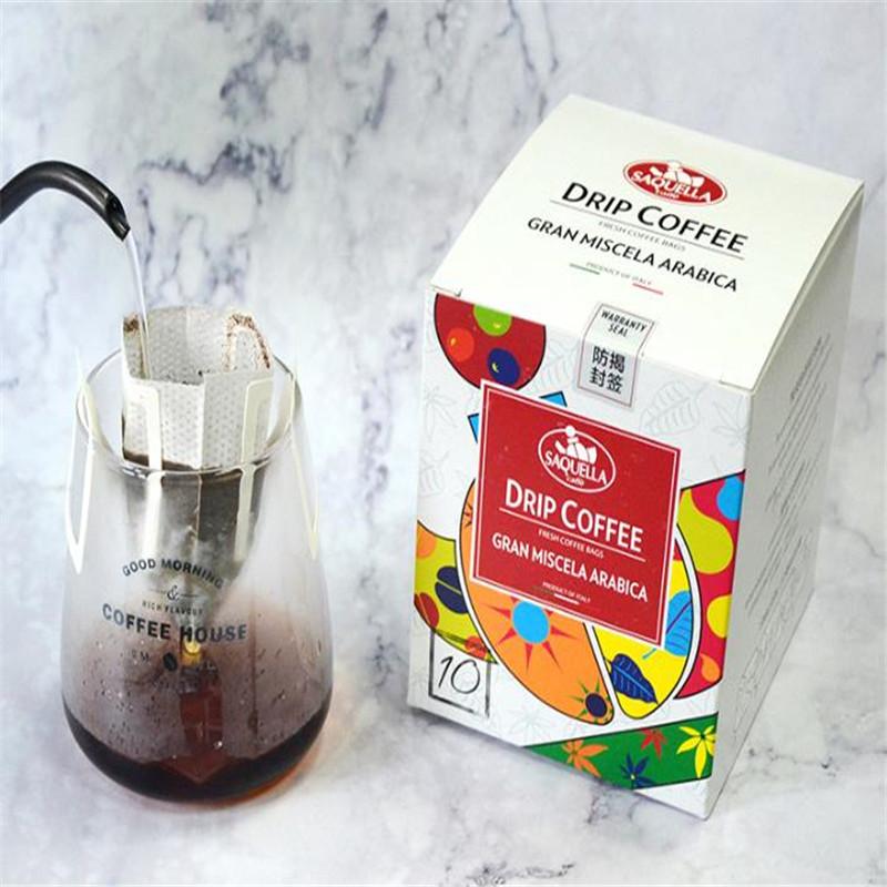 原装进口意大利SAQUELLA/圣贵兰咖啡无糖滤泡式挂耳咖啡速溶