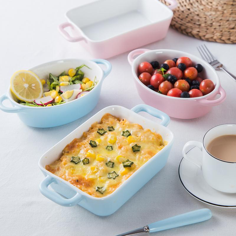 焗飯碗盤烤盤創意陶瓷西餐餐具家用烤箱專用烘焙碗盤芝士烤盤烤碗