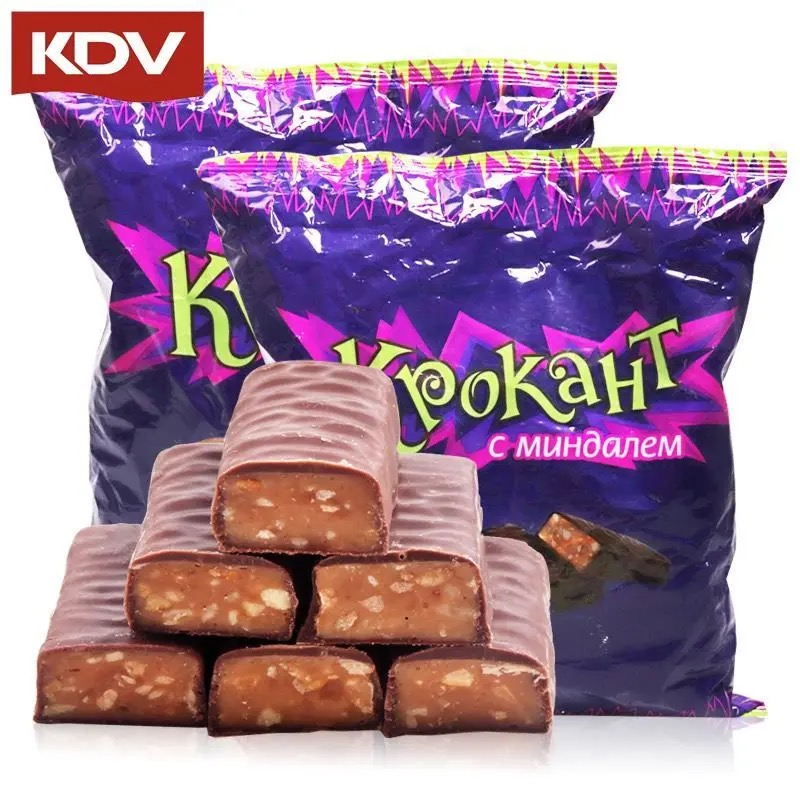 KdV Russian imported purple candy kernel sandwich chocolate toffee candy happy candy snack 500g * 2