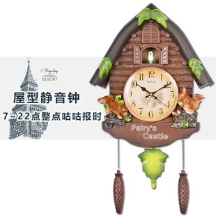 可爱卡通现代挂钟田园时钟办公室家庭创意摇摆挂钟布谷鸟整点报时
