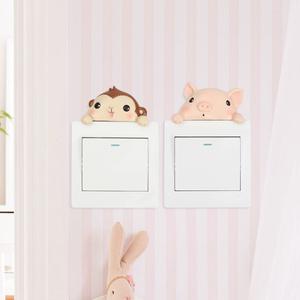 卡通创意可爱立体墙贴动物开关套房间墙上装饰品家居插座贴开关贴