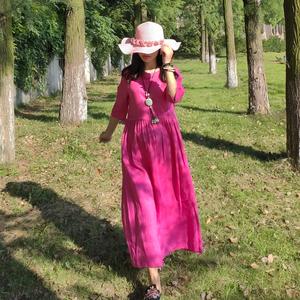 火龙果 有柳原创文艺亚麻连衣裙 新款旅行宽松舒适遮肉中长裙袍子