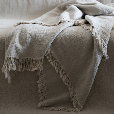 Yi Caiye Luxury Wabi Jifeng Hand-washed Imported Pure Linen Breathable Bed Thick Cover Blanket Air Conditioning Blanket Set Blanket