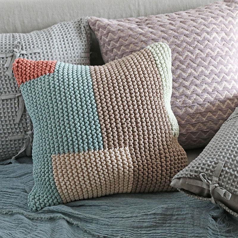 弋采原创现代简约自然田园返璞手工棉线编织沙发靠垫抱枕方枕靠包