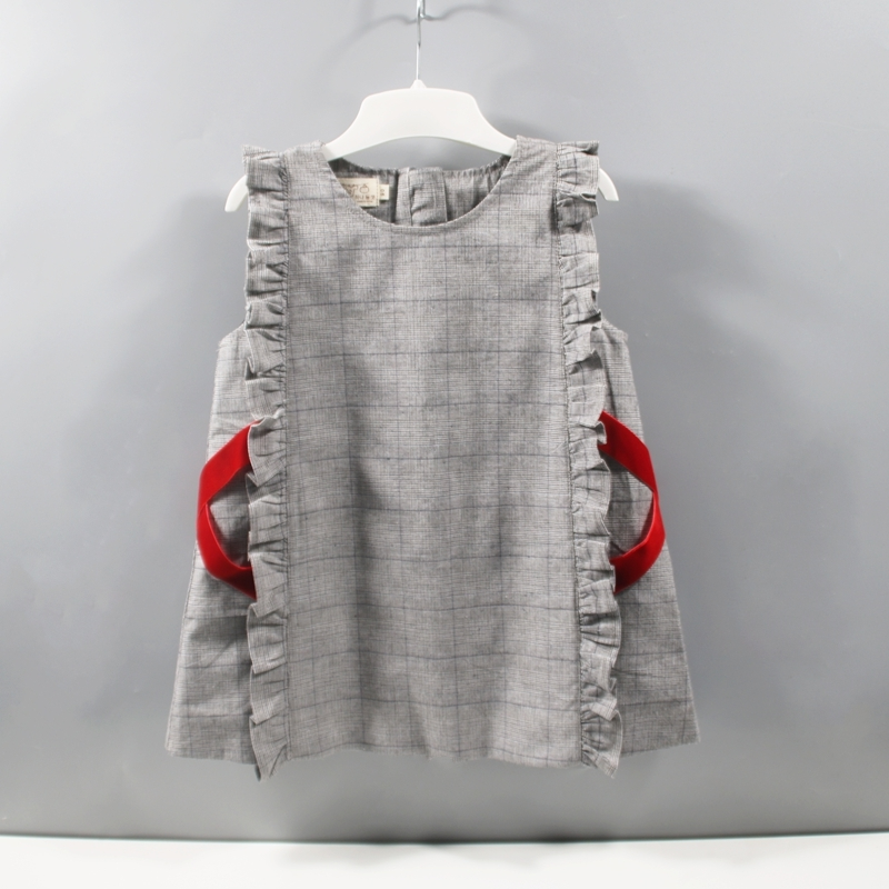 韩国童装童裙2019秋季新款全棉格子织带宝宝背心裙花边可爱幼儿裙