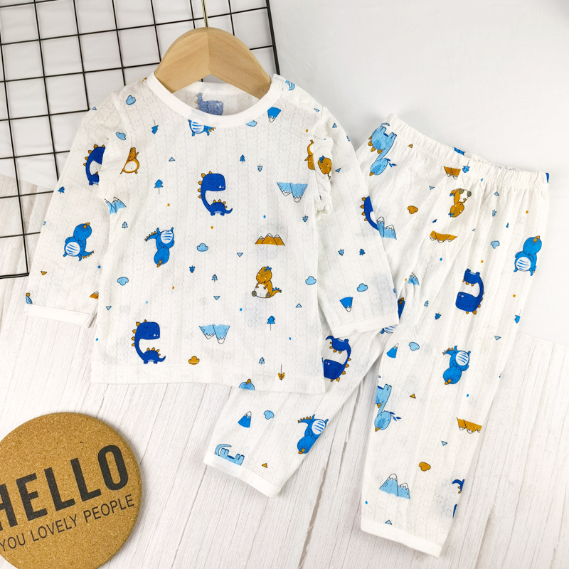 Summer childrens and boys home clothes baby bamboo fiber air conditioning suit thin long sleeve trousers childrens pajamas