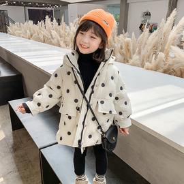 女童连帽羽绒服2020冬季新款韩版波点中长款外套儿童加厚保暖上衣