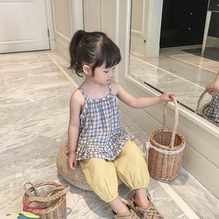 女童夏季套裝2019新款女寶格子吊帶背心小童防蚊褲兒童洋氣兩件套