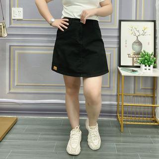 白色裤裙牛仔短裤女夏季新款假两件大码女装胖mm宽松高腰阔腿裤子