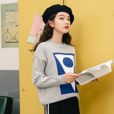 秋冬季韩版学院风上衣长袖套头针织衫女宽松慵懒风加厚拼色毛衣女