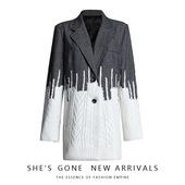 小众设计师小西装2020秋装新款英伦风毛衣拼接毛呢烟灰色西服外套