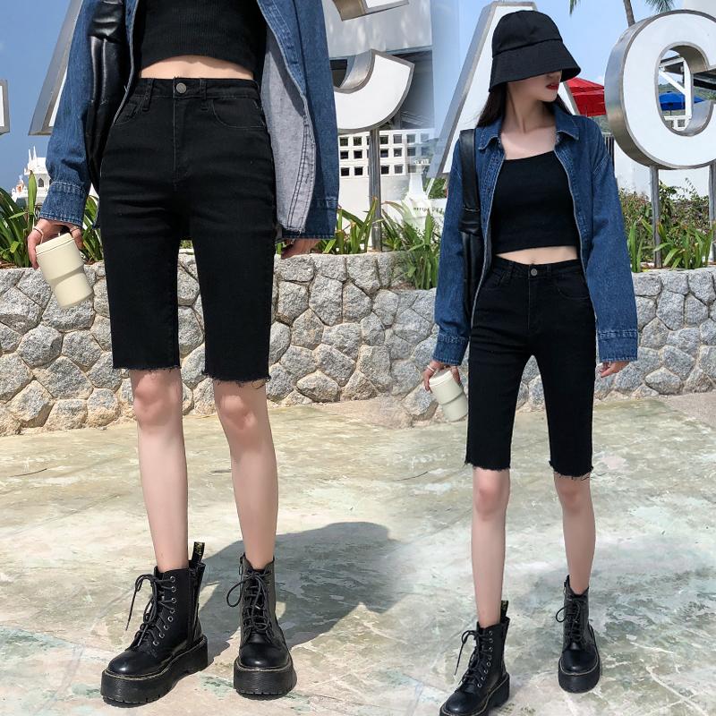 五分牛仔短褲女春夏季2020新款ins潮高腰緊身黑色港味小腳5分中褲