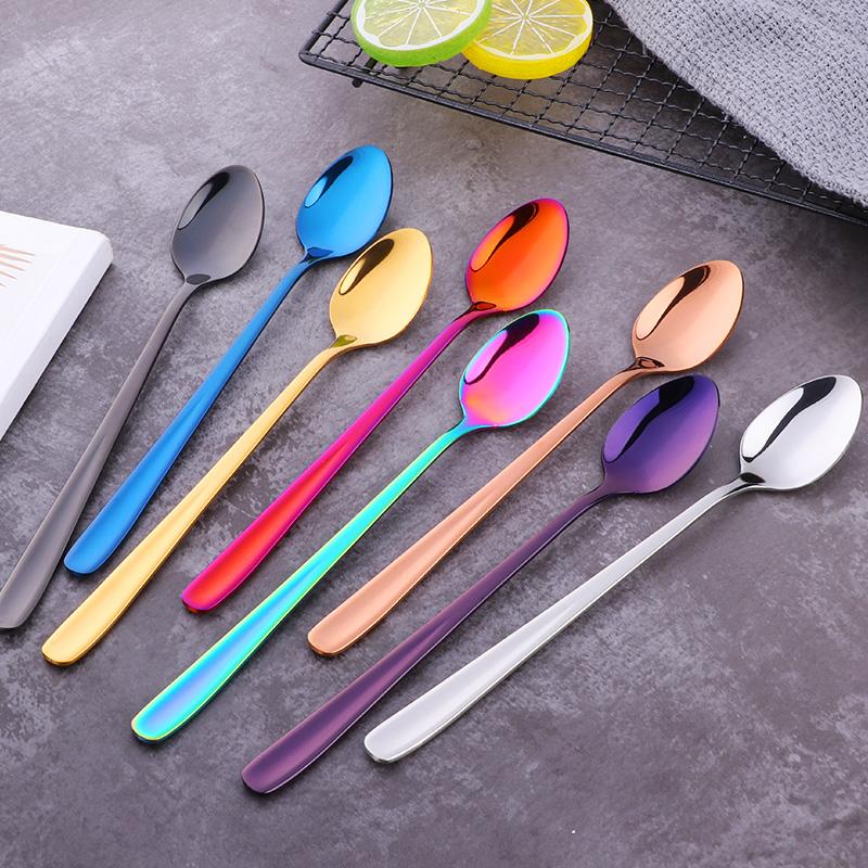 304不锈钢冰勺韩式加长柄汤勺子创意可爱咖啡搅拌勺奶茶彩色餐具