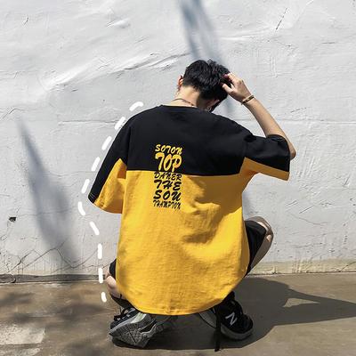 2019夏装新款字母印花撞色拼接男士圆领短袖T恤 T219/P38 控价55
