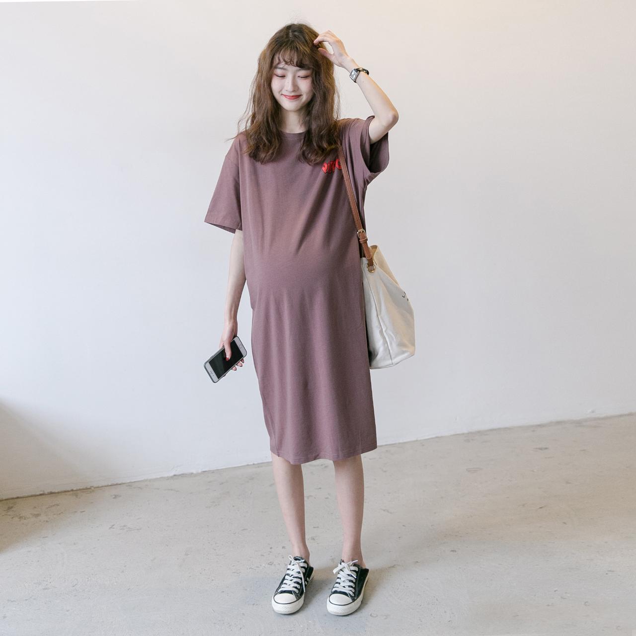 孕妇T恤夏装时尚大码短袖韩版连衣裙宽松休闲中长款纯棉打底潮妈