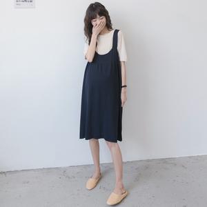 孕妇夏套装时尚 韩国假两件套裙子中长款针织背带裙潮妈连衣裙潮