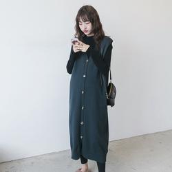 孕妇秋冬装套装时尚款2020韩版打底衫马甲长款无袖背心针织裙辣妈