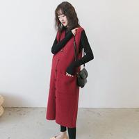 孕妇装春装套装韩国时尚气质长款针织背心裙马甲外套红色连衣裙冬