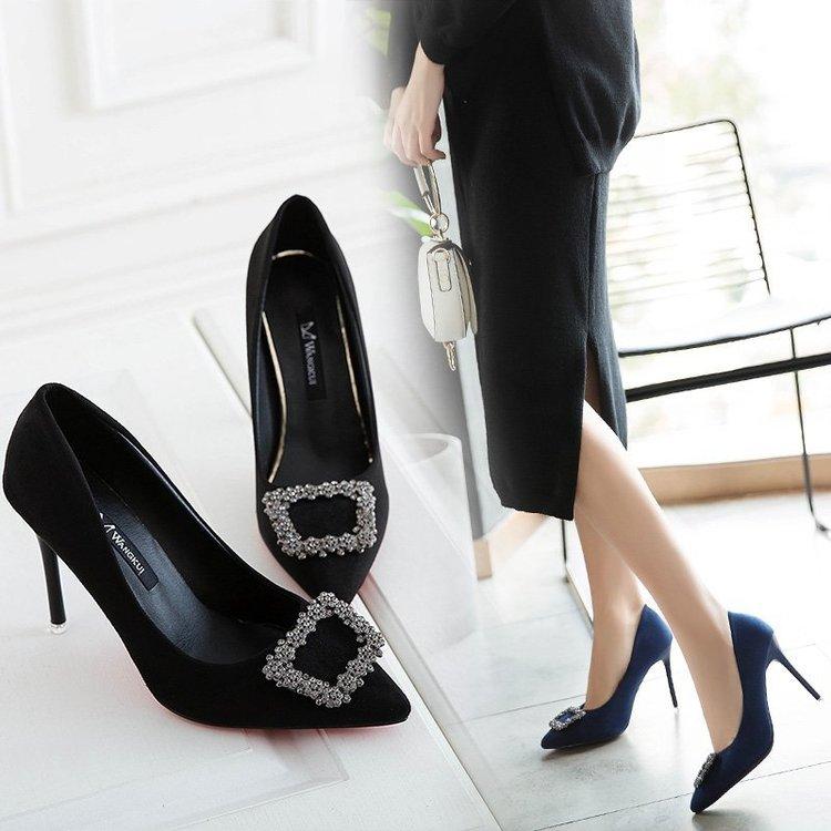 尖头方扣宴会时尚细跟超高跟鞋9cm单鞋女性感礼服款浅口百搭根鞋