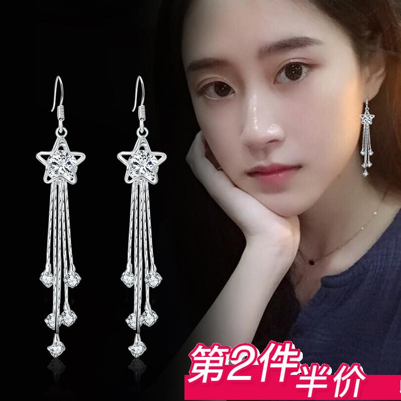 耳环女韩国气质长款简约S925纯银流苏防过敏耳坠水晶个性百搭耳钉图片