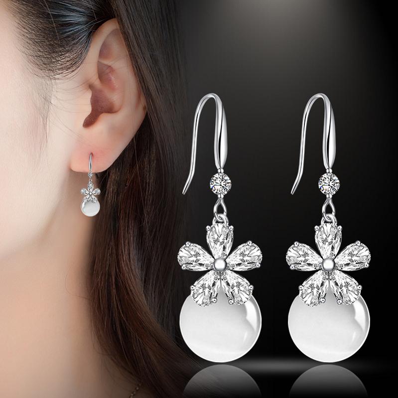 S925纯银猫眼石耳环女气质韩国珍珠耳坠流苏长款个性简约水晶耳钉