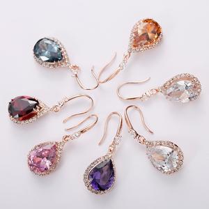 925银气质韩国水晶耳环女长款耳钉百搭个性耳吊坠饰品简约防过敏