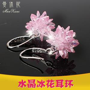 天天特价s925纯银水晶冰花耳环韩国气质女耳坠长款百搭雪花耳线