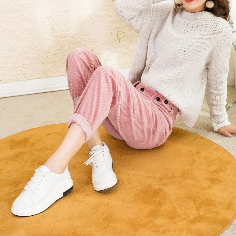 2019 new spring and autumn light core cashmere pants childrens striped Harlan pants loose dad radish pants casual nine Korean version