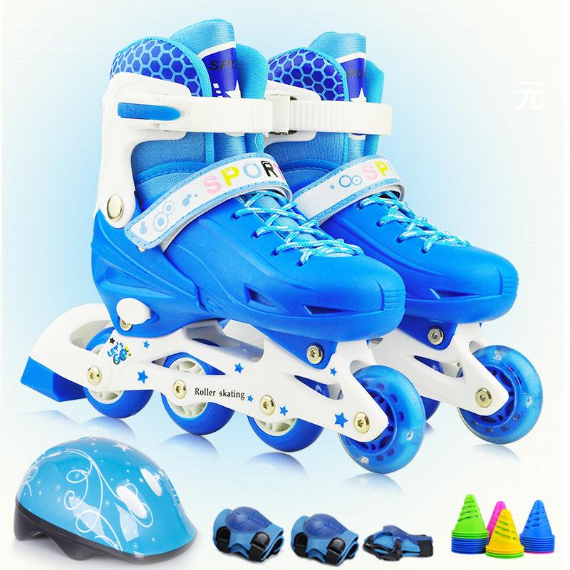 儿童运动鞋套装单闪直排轮滑鞋旱冰鞋滑冰鞋可调节男女童溜冰鞋潮