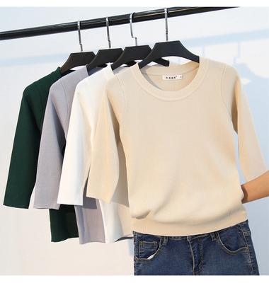 2019新款春秋装五分袖冰丝针织衫中袖打底衫上衣薄款七分袖t恤女