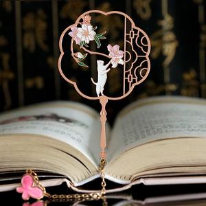 猫咪免费刻字书签古典中国风金属学生用可爱故宫文创创意中秋礼品