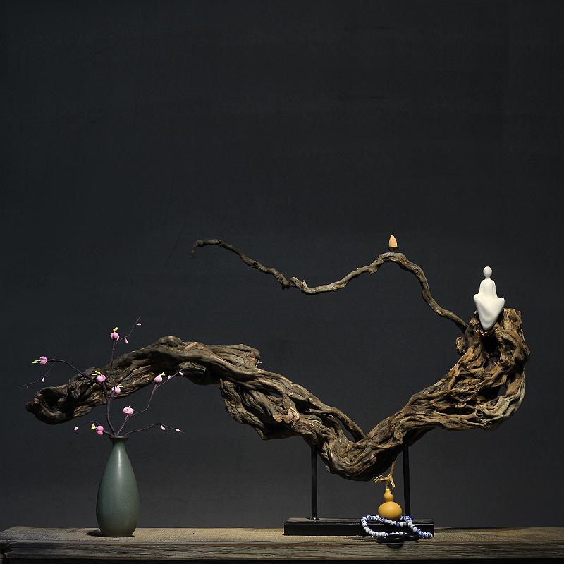 新中式风化木根艺根雕佛像禅意摆件 样板房会所酒店玄关家居装饰