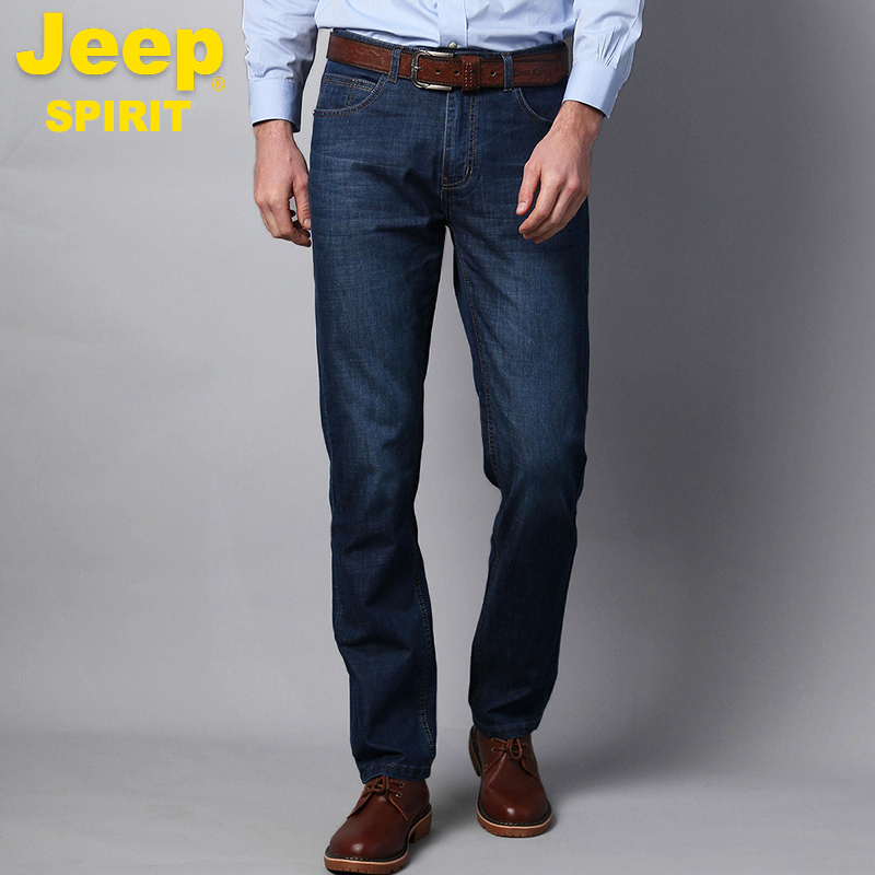 Summer Jeep jeans mens straight loose large stretch pants mens Jeep mens casual summer thin