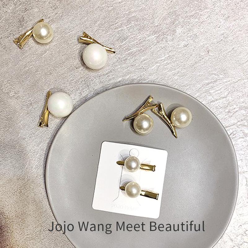 超Q又美美的珍珠发夹 网红韩国一字夹日系胸针鸭嘴夹边夹发卡发饰