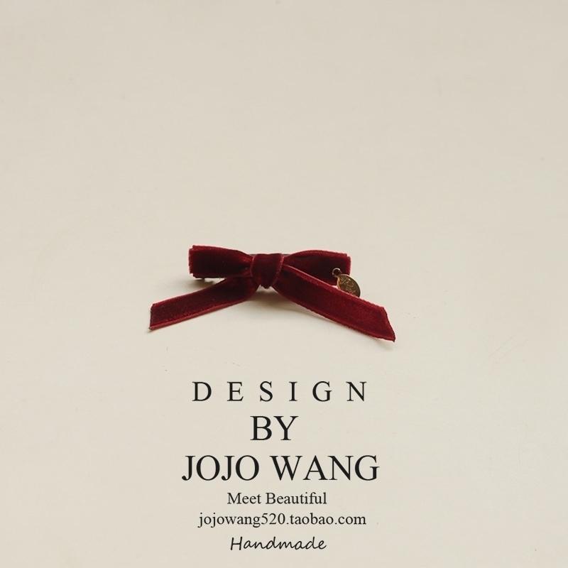 经典精致的丝绒jk蝴蝶结金标质发夹边夹顶夹发饰头饰 新年刘海夹