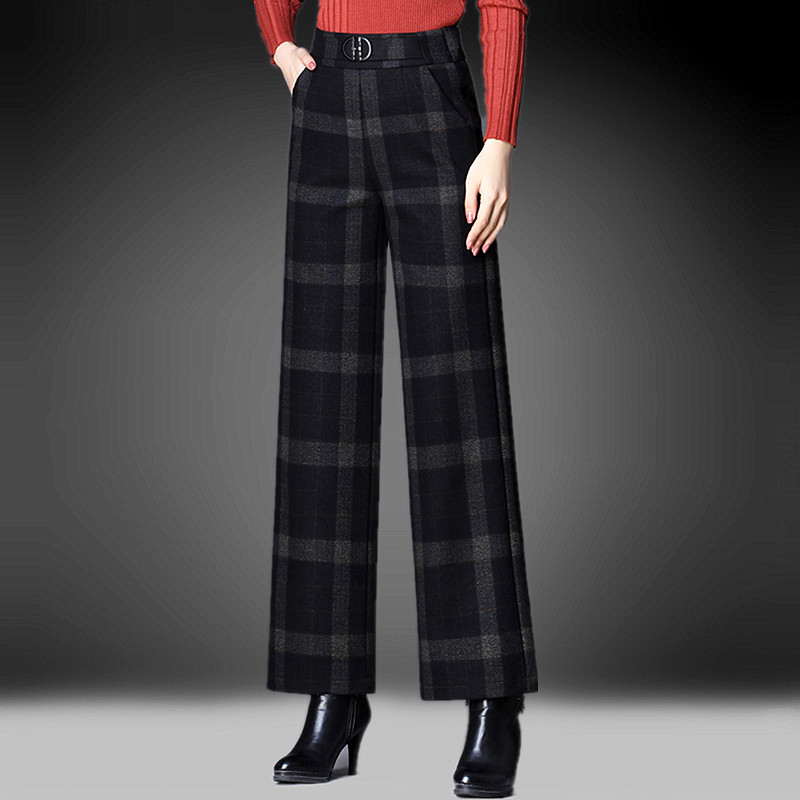Plaid Wool nine point wide leg pants womens pants 2021 autumn and winter new casual pants hanging feeling high waist elastic straight pants