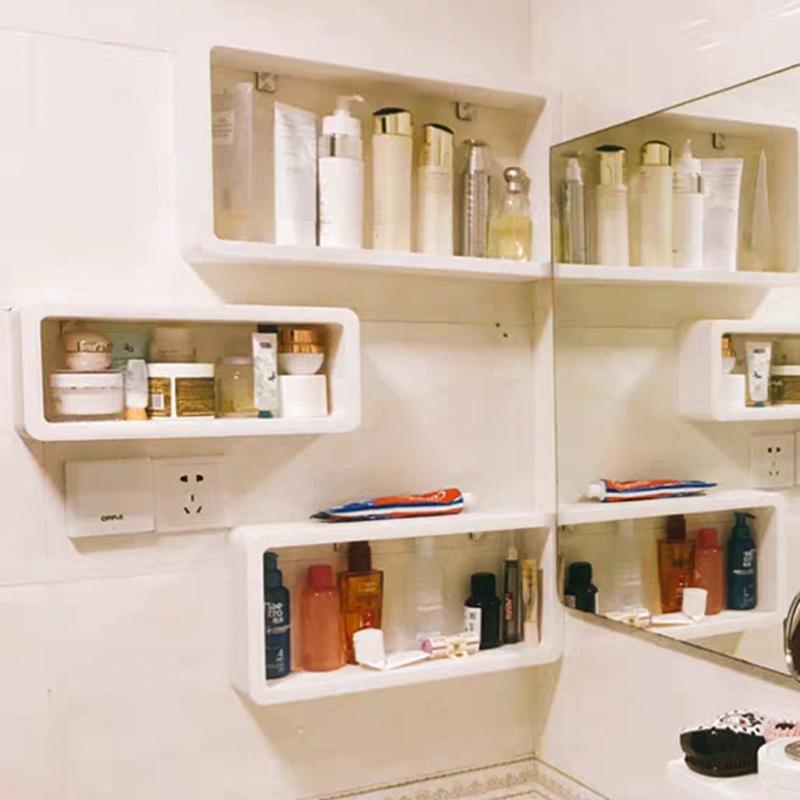 卫生间置物架壁挂免打孔洗手间厕所浴室洗漱台化妆品墙上收纳神器限时秒杀