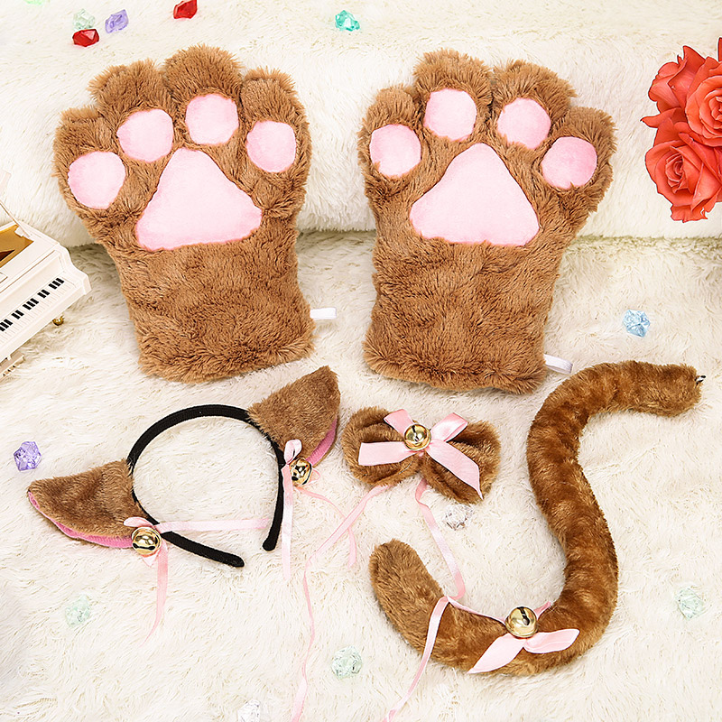 Anime peripheral animal accessories cat mother accessories cat claw gloves cat tail cat role play set