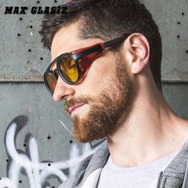 欧美新款圆形眼镜蒸汽朋克软皮倒角太阳镜潮酷铆钉款墨镜防偷窥图片