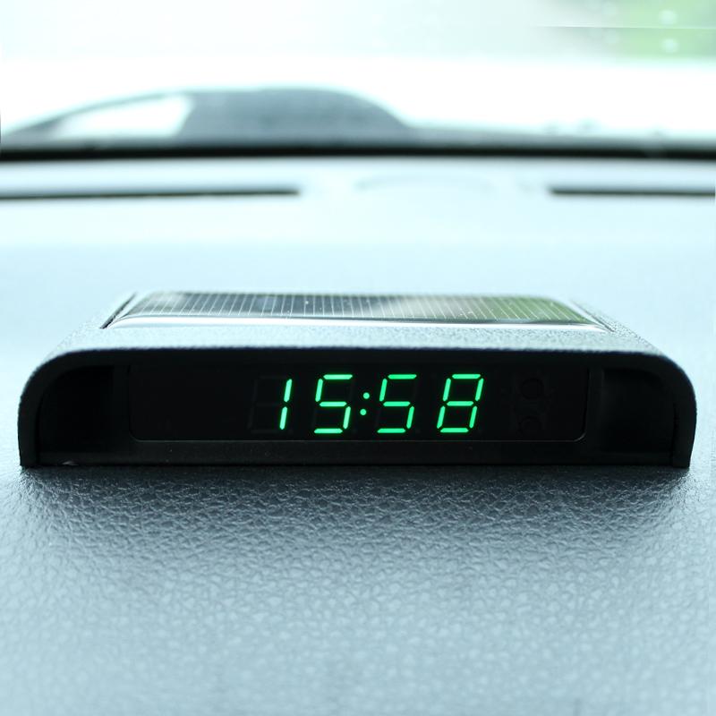 正常发货太阳能夜光车载时钟汽车高精度电子表车用钟温度计免布线