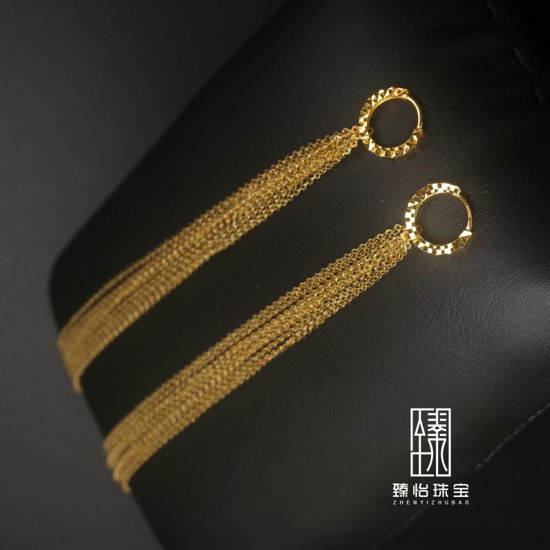 【臻怡】18K金白金玫瑰金黄金满天星车花耳环瀑布耳线正品流苏