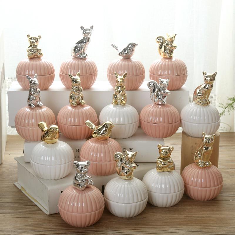 创意欧式陶瓷喜糖盒子高档结婚用品动物镀金糖果盒婚礼伴手礼回礼