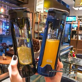 男女简约耐热商务玻璃杯创意便携带盖防漏车载杯子办公室泡茶水杯