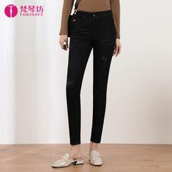 弹力高腰小脚牛仔裤女显瘦2020秋季新款修身大码灰色铅笔长裤加长