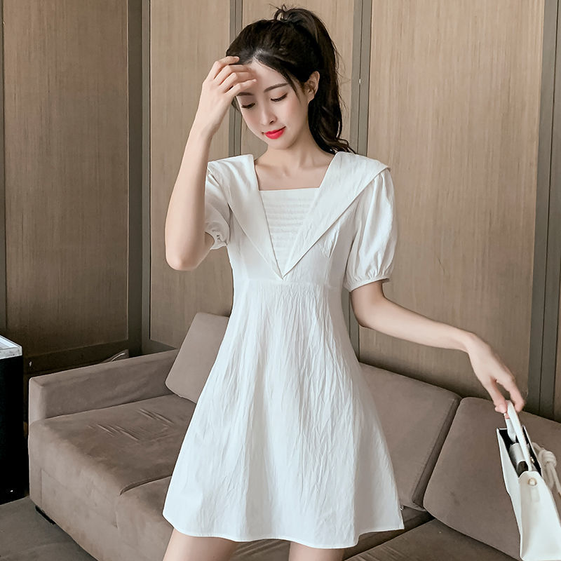 Small dress womens summer 2021 new French retro waist style square collar bubble sleeve Platycodon skirt